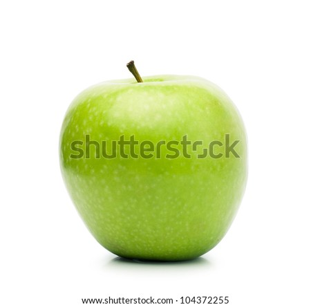 Big fresh green apple isolated over white background