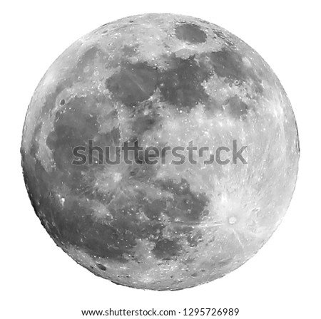 big full moon and the craters are visible. The big one in the center is the Copernicus Crater, while the crater in the lower right corner is called the Tycho Crater Foto stock ©