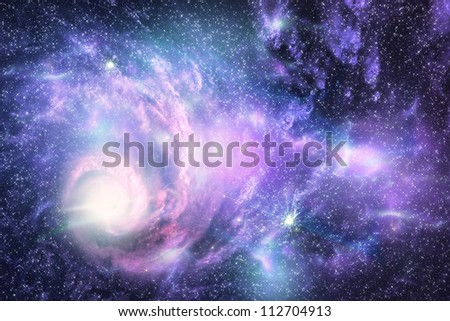 Big galaxy and plasma in the starry space.