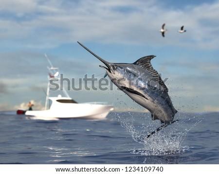 Big game fishing time, big swordfish marlin  jumped hooked by sport fishing angler, fishing boat 3d render