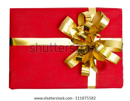 Big gift red box with ribbon isolated on a white background