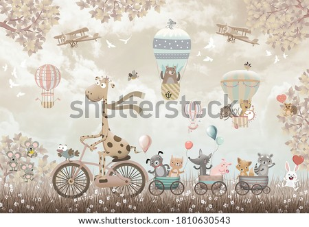 big giraffe on bicycle with animals wallpaper 3d kids room