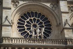 Big glass window and sculptures of Notre Dame de Paris, France