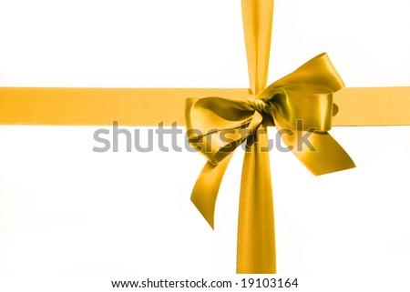 Big gold holiday bow on white background