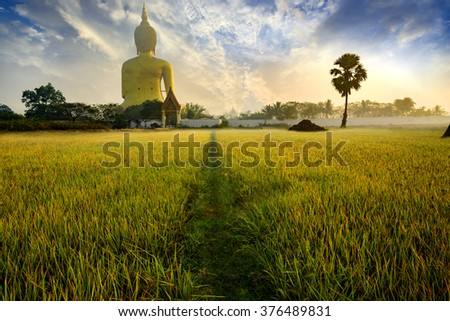Big golden buddha statue in the temple of Thailand/Wat Maung ,Angthong Province, Thailand.