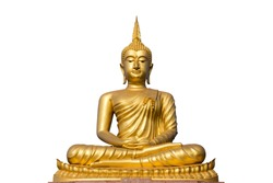 big golden buddha statue on white background