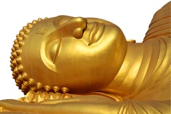 Big golden buddha statue sleeping on white background. Large face of ancient golden reclining Buddha statue at the temple in Thailand. Wat Lampho , Songkhla. Face of Reclining buddha at thailand.