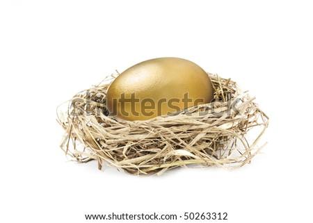big golden nest egg isolated on white background