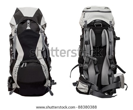 Big gray-black woman's backpack isolated on white background - front and back set