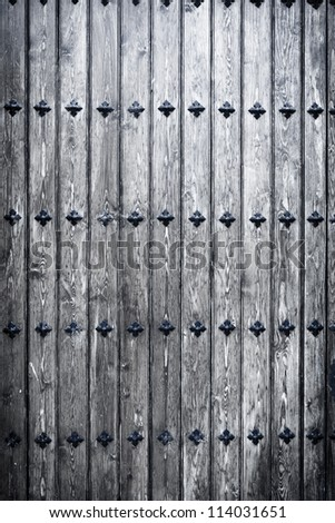 Big gray wooden door background