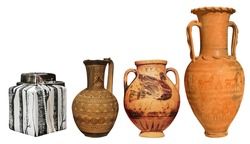big greek antique and modern vases on the white background