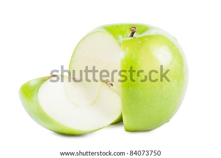 Big green apple with sliced part isolated over white background