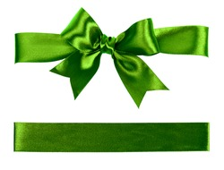 big green bow made from silk ribbon