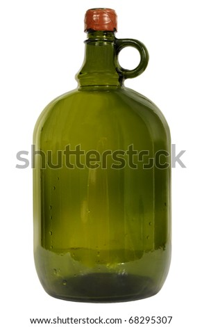 big green glass wine bottle on a white background