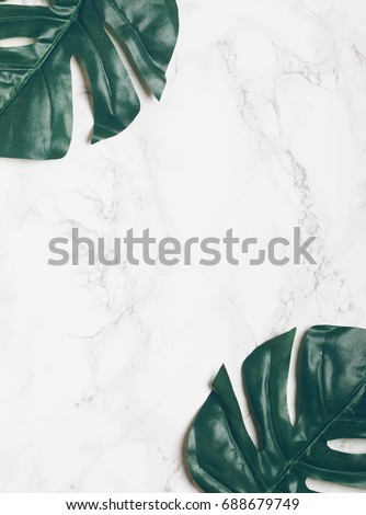 Big green tropical monstera leaves on white marble background. Flat lay. Top view. Copy space.