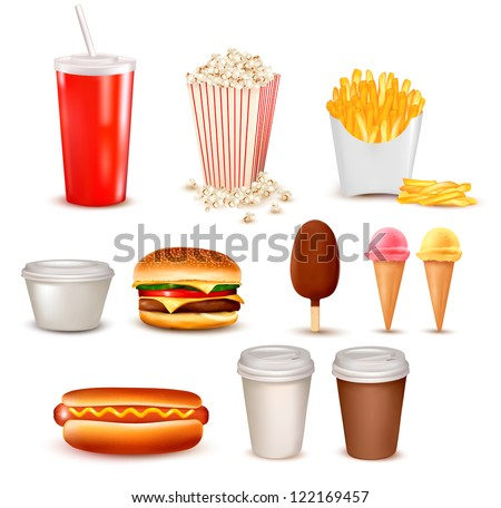 Big group of fast food products. Raster version of vector