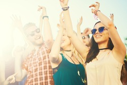 Big Group of people dancing at outdoor festival