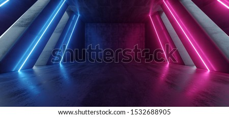 Big Hall Neon Laser Purple Blue Red Lines Beam Futuristic Sci Fi Concrete Cement Columns Tall Huge Reflective Path Gate Empty Underground Garage Realistic Virtual Background 3D Rendering Illustration