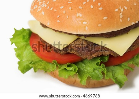 big hamburger close-up