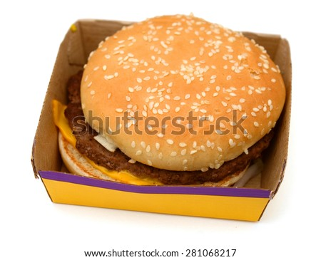 big hamburger in paper box isolated on white  #281068217