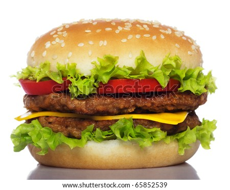 big hamburger isolated on white - stock photo