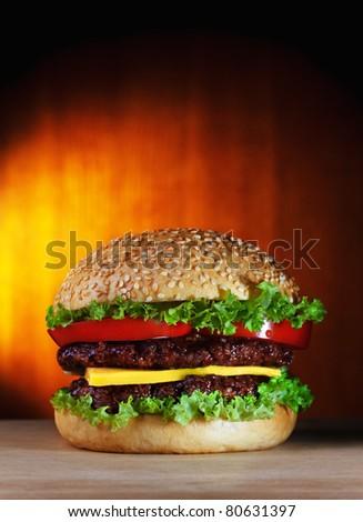 big hamburger with copy-space
