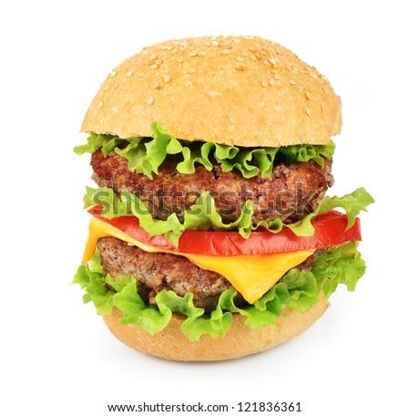 Big hamburger with salad on white close up
