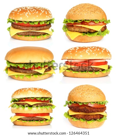 Big hamburgers on white background