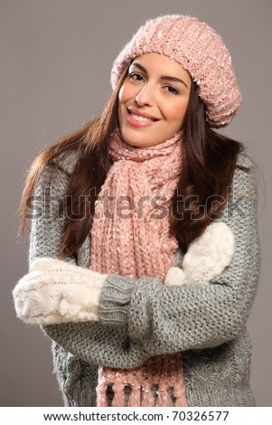 Big happy smile by beautiful woman in warm clothes