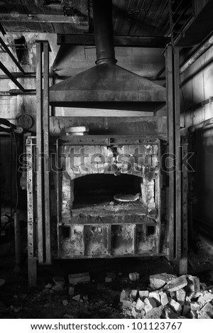 big hardening furnace in the workshop, black and white