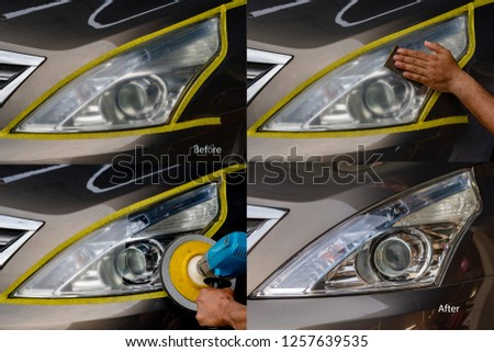 Big headlight cleaning with power buffer machine at service station ,Before and after cleaning #1257639535