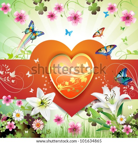 Big heart, and butterflies over springtime background for Valentine's day