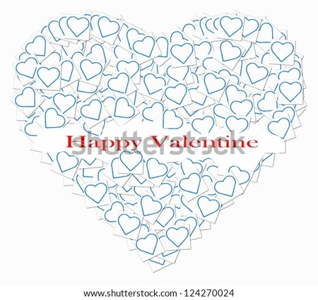 Big heart , filled with little hearts ,with the words saying ; happy valentine
