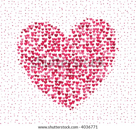 Big heart made of a lot of tiny hearts