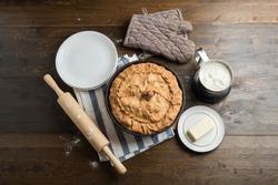 Big hot round balish. Traditional tatar pie.
