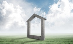 Big house sign on green field. Architecture agency advertising. Sale and rent new real property. Beautiful landscape with green grass and cloudy blue sky. Mixed media with 3D rendering object.