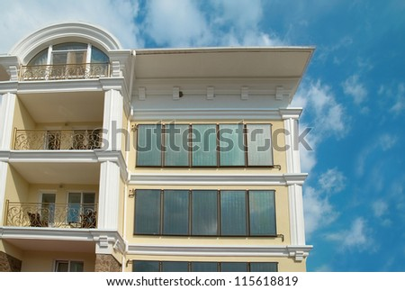 Big house with solar water heating system - stock photo