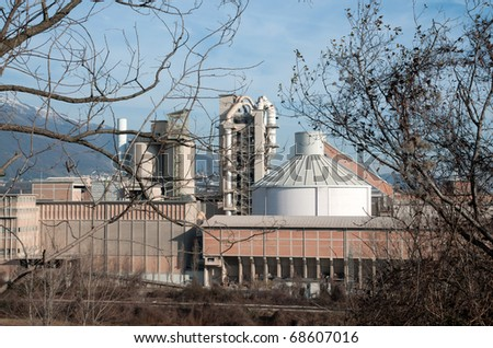 Big  industrial cement processing plant in Italy, Veneto (Europe).