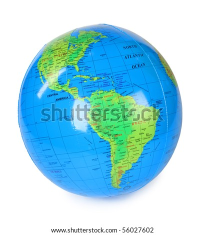 big inflatable globe view at america isolated on white background