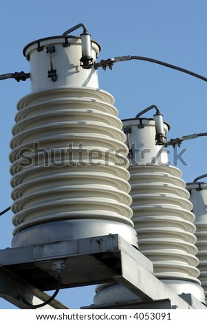 big insulators on the high-voltage substation 2