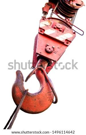 Big iron crane hook, red . Hook closeup. #1496114642