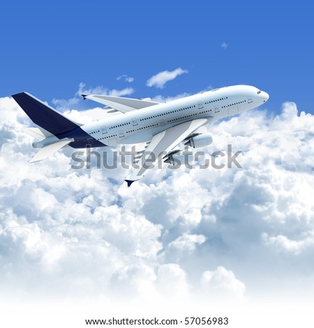 Big Jet airplane flying over a clear cloudscape seen from the side top, clipping path on the plane for easy isolation from the background