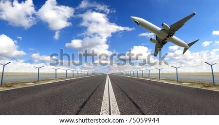 Big jet plane flying above runway