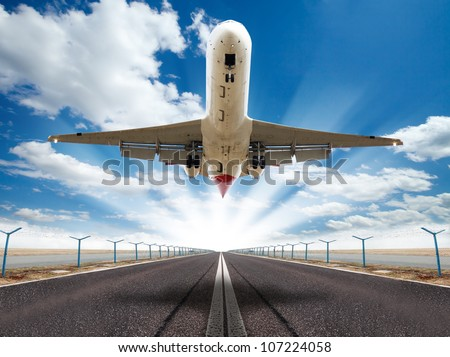 Big jet plane taking off runway - stock photo