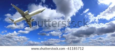 Big jet plane with perfect sky background - stock photo