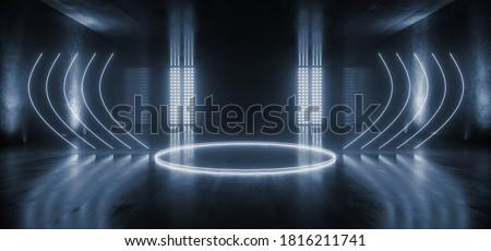 Big Large Neon Stage Podium Laser Blue Dark Night Warehouse Tunnel Corridor Concrete Garage Grunge Sci Fi Futuristic Underground Showcase Car Parking Empty 3D Rendering Illustration