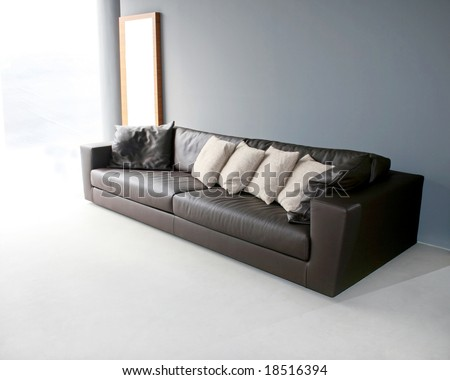 big leather sofa in grey living room stock photo 18516394