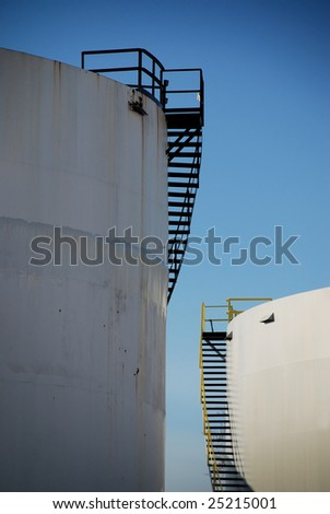 Big  liquid chemical tank with stairs