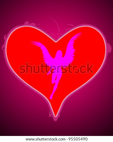 Big love heart with angel