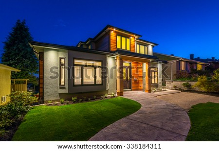 Royalty free big luxury modern house at dusk night for Modern house at night